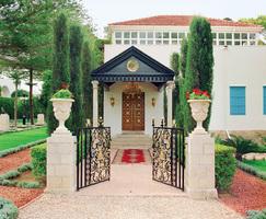 Entrance to the Shrine of Bahá'u'lláh, burial place of the Founder of the Bahá'í Faith, To Bahá'ís, it is the holiest spot on earth